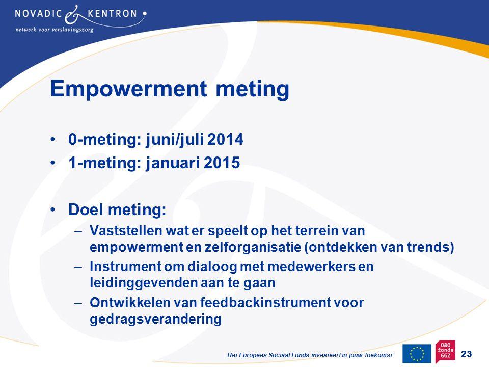 Het Europees Sociaal Fonds investeert in jouw toekomst Empowerment meting 0-meting: juni/juli 2014 1-meting: januari 2015 Doel meting: –Vaststellen wat er speelt op het terrein van empowerment en zelforganisatie (ontdekken van trends) –Instrument om dialoog met medewerkers en leidinggevenden aan te gaan –Ontwikkelen van feedbackinstrument voor gedragsverandering 23