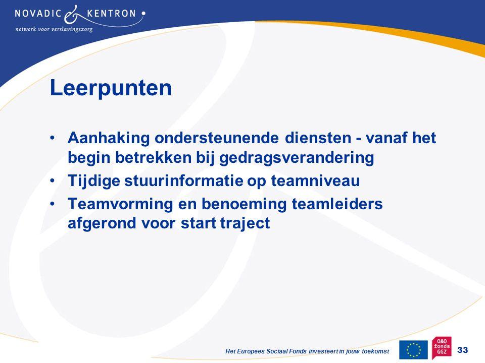 Het Europees Sociaal Fonds investeert in jouw toekomst Leerpunten Aanhaking ondersteunende diensten - vanaf het begin betrekken bij gedragsverandering Tijdige stuurinformatie op teamniveau Teamvorming en benoeming teamleiders afgerond voor start traject 33