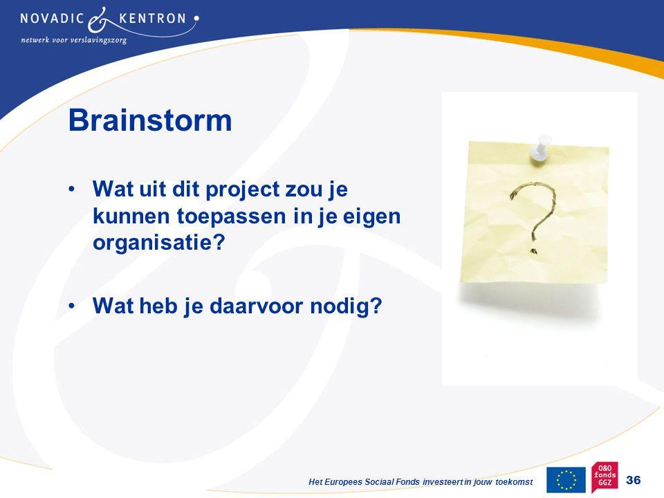 Het Europees Sociaal Fonds investeert in jouw toekomst Brainstorm Wat uit dit project zou je kunnen toepassen in je eigen organisatie.