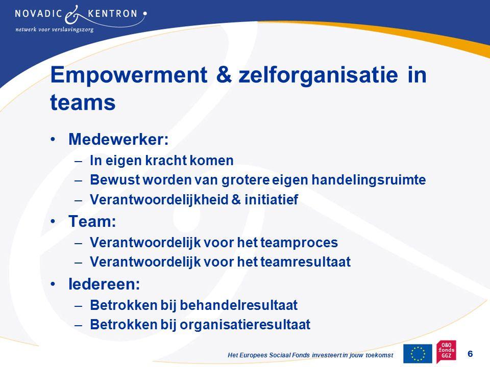 Het Europees Sociaal Fonds investeert in jouw toekomst Empowerment & zelforganisatie in teams Medewerker: –In eigen kracht komen –Bewust worden van grotere eigen handelingsruimte –Verantwoordelijkheid & initiatief Team: –Verantwoordelijk voor het teamproces –Verantwoordelijk voor het teamresultaat Iedereen: –Betrokken bij behandelresultaat –Betrokken bij organisatieresultaat 6