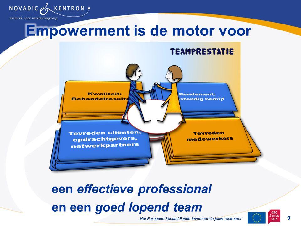 Het Europees Sociaal Fonds investeert in jouw toekomst 9 een effectieve professional en een goed lopend team