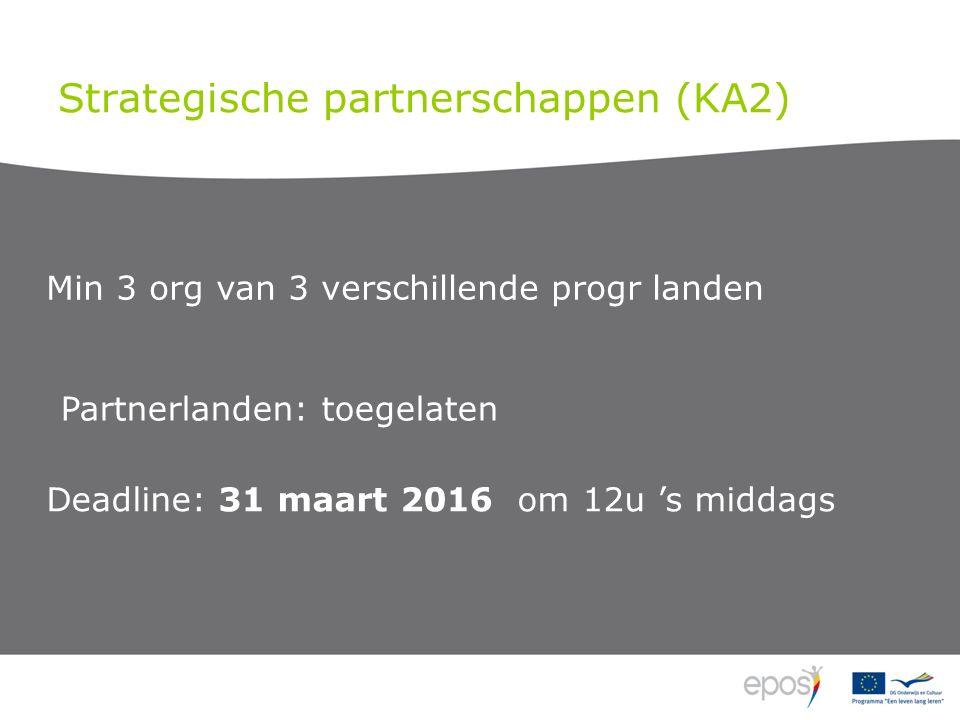 Strategische partnerschappen (KA2) Min 3 org van 3 verschillende progr landen Deadline: 31 maart 2016 om 12u 's middags Partnerlanden: toegelaten
