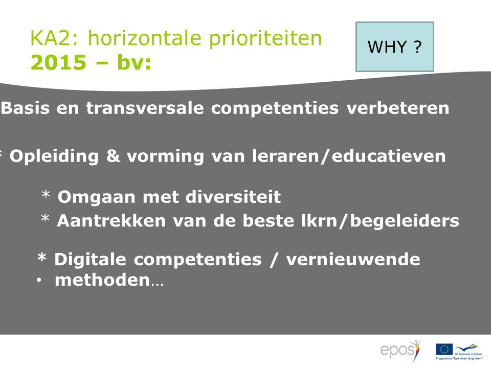 KA2: horizontale prioriteiten 2015 – bv: WHY .