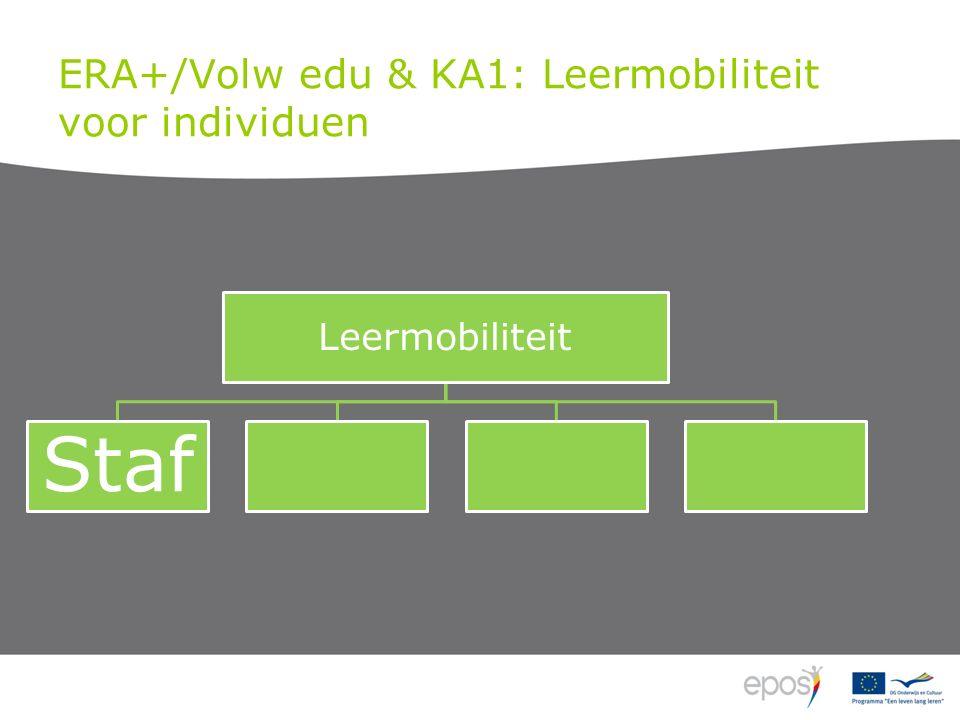 KA2: Mobiliteit Blended mob LT (2 ma tot 12 ma) KT (5 dgn tot 2 ma) Transnationale leeractiviteiten Cursisten personeel Virtuele mob Fysieke mob (< 2 ma) Joint staff training Onderwijs/vormings opdrachten