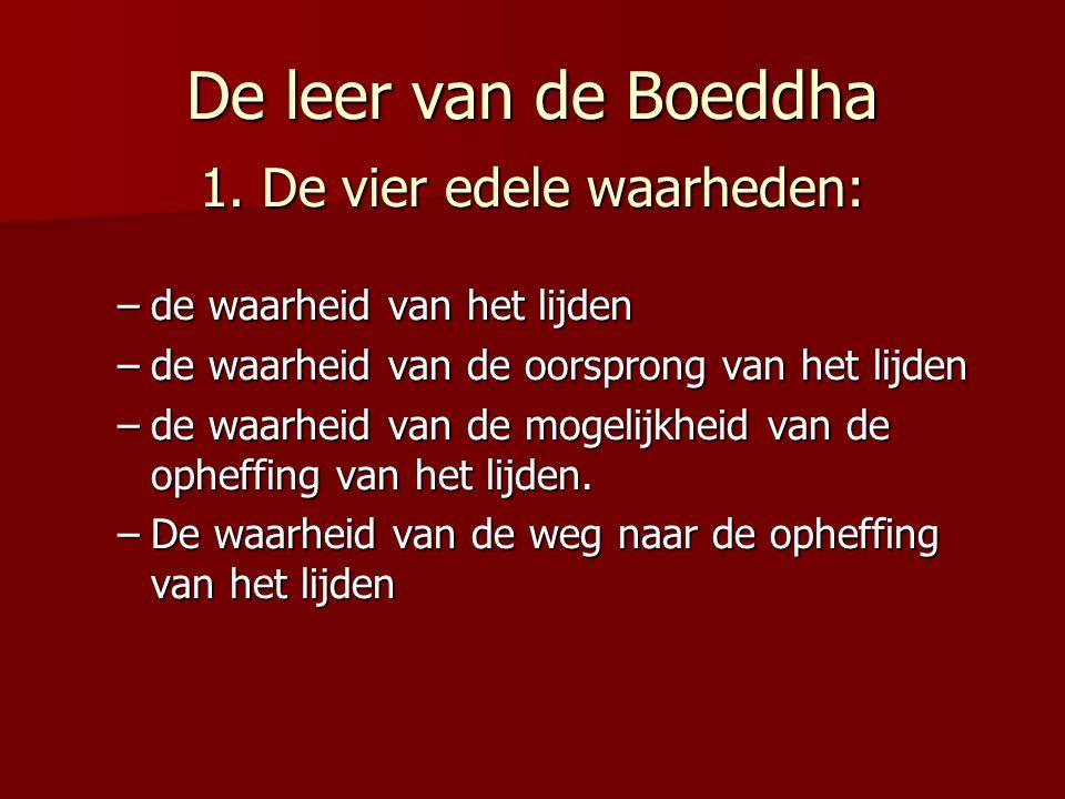 De leer van de Boeddha 1. De vier edele waarheden: –de waarheid van het lijden –de waarheid van de oorsprong van het lijden –de waarheid van de mogeli