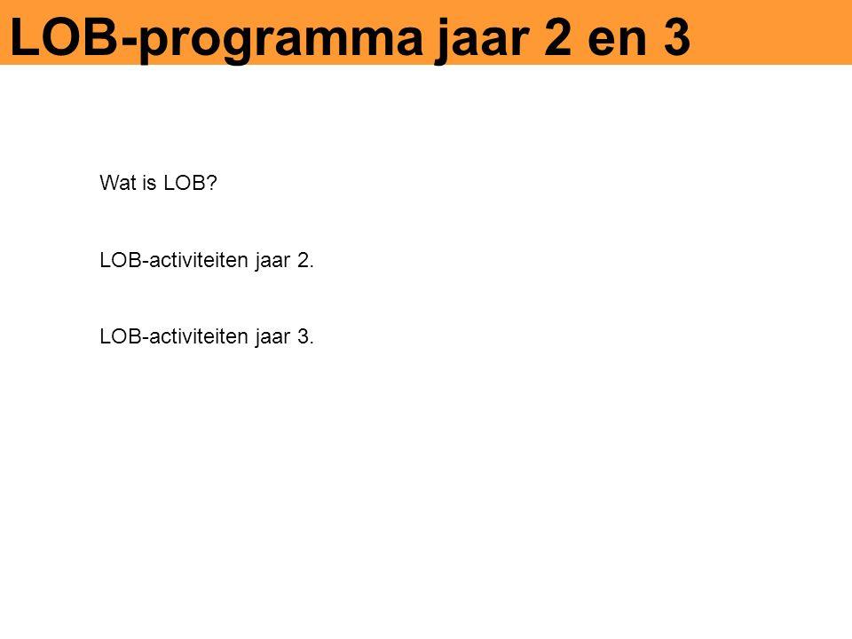 LOB-programma jaar 2 en 3 Wat is LOB LOB-activiteiten jaar 2. LOB-activiteiten jaar 3.
