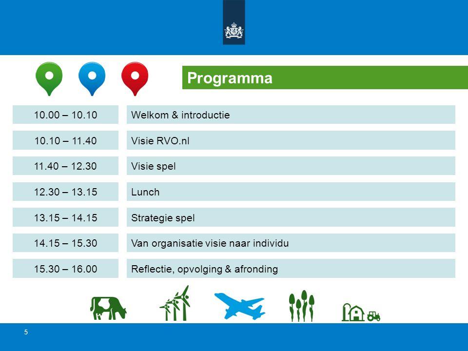 5 Programma Welkom & introductie Visie RVO.nl Visie spel Lunch Van organisatie visie naar individu 10.00 – 10.10 10.10 – 11.40 11.40 – 12.30 12.30 – 1