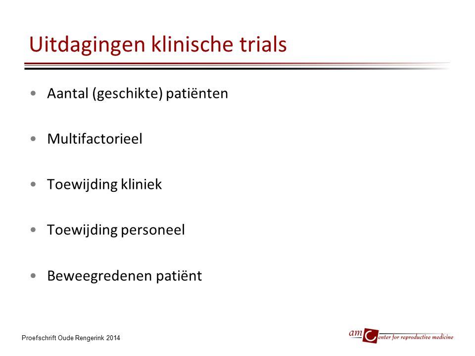 Uitdagingen klinische trials Aantal (geschikte) patiënten Multifactorieel Toewijding kliniek Toewijding personeel Beweegredenen patiënt Proefschrift O