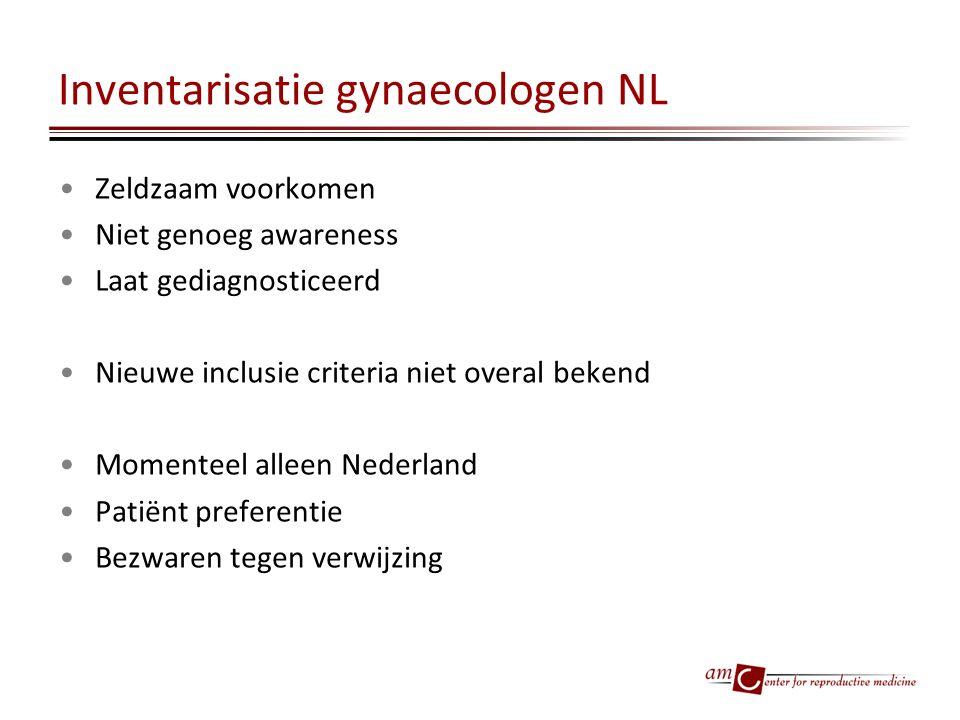 Inventarisatie gynaecologen NL Zeldzaam voorkomen Niet genoeg awareness Laat gediagnosticeerd Nieuwe inclusie criteria niet overal bekend Momenteel al
