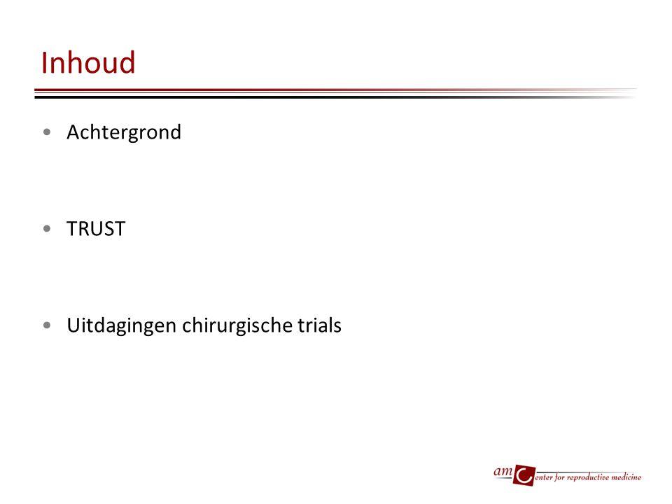 Inhoud Achtergrond TRUST Uitdagingen chirurgische trials