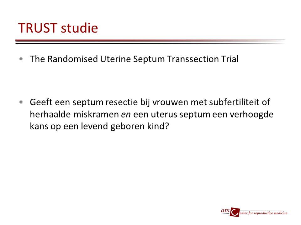 TRUST studie The Randomised Uterine Septum Transsection Trial Geeft een septum resectie bij vrouwen met subfertiliteit of herhaalde miskramen en een u