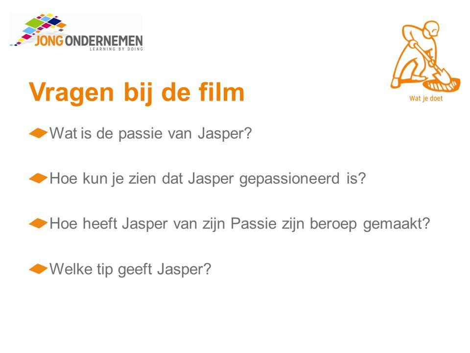 Vragen bij de film Wat is de passie van Jasper. Hoe kun je zien dat Jasper gepassioneerd is.