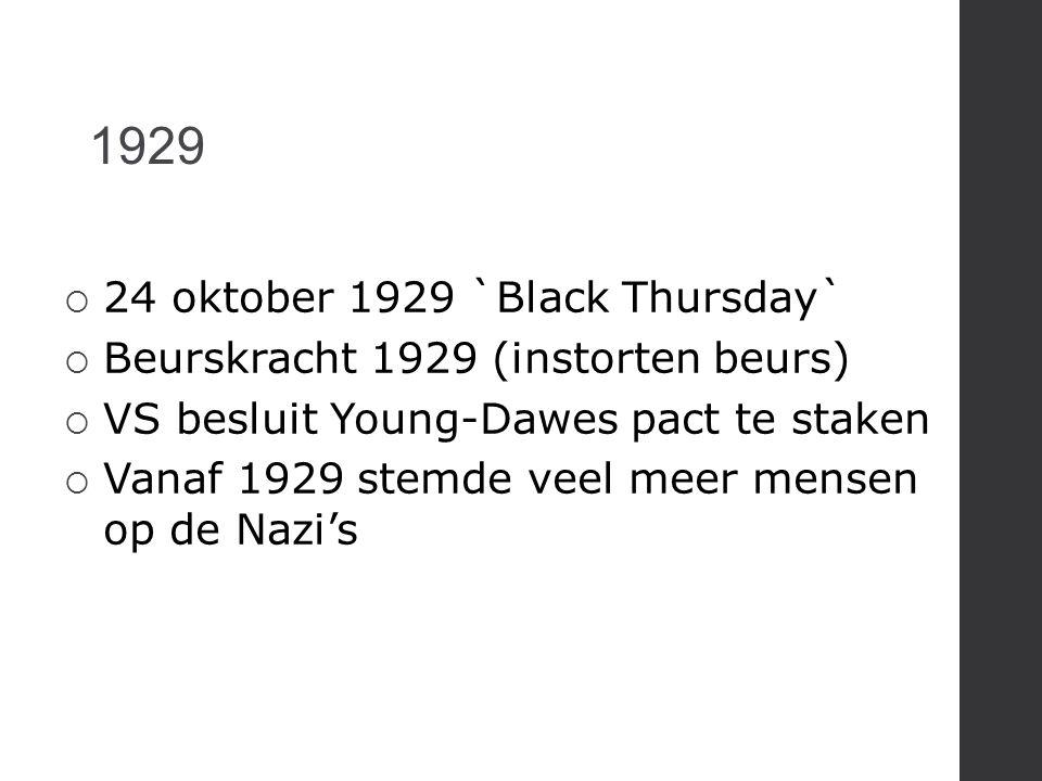 1929  24 oktober 1929 `Black Thursday`  Beurskracht 1929 (instorten beurs)  VS besluit Young-Dawes pact te staken  Vanaf 1929 stemde veel meer men