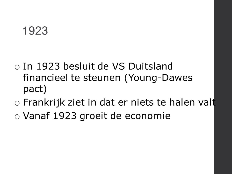 1923  In 1923 besluit de VS Duitsland financieel te steunen (Young-Dawes pact)  Frankrijk ziet in dat er niets te halen valt  Vanaf 1923 groeit de
