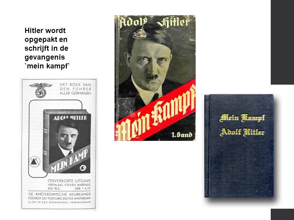 Hitler wordt opgepakt en schrijft in de gevangenis `mein kampf`