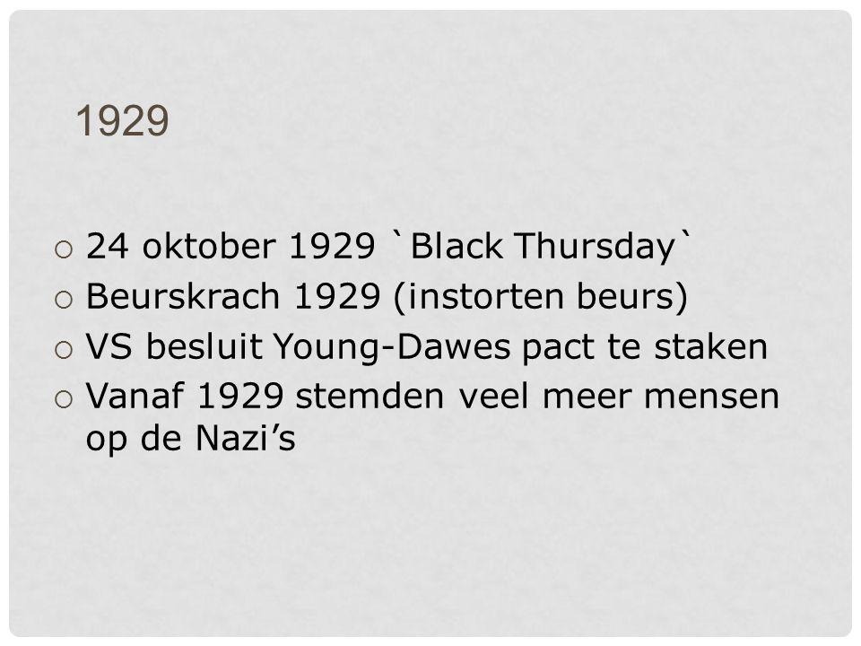 1929  24 oktober 1929 `Black Thursday`  Beurskrach 1929 (instorten beurs)  VS besluit Young-Dawes pact te staken  Vanaf 1929 stemden veel meer mensen op de Nazi's