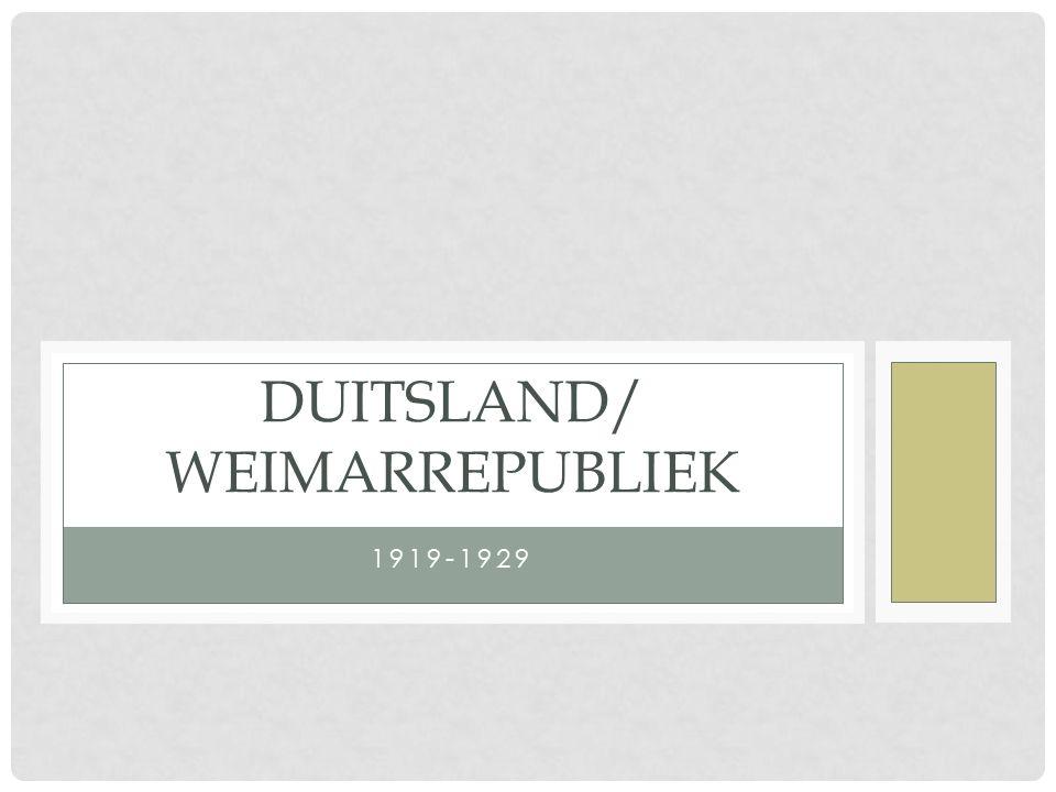 1919-1929 DUITSLAND/ WEIMARREPUBLIEK