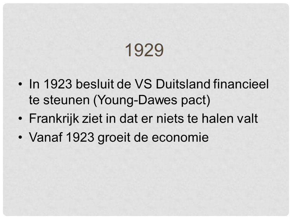 1929 In 1923 besluit de VS Duitsland financieel te steunen (Young-Dawes pact) Frankrijk ziet in dat er niets te halen valt Vanaf 1923 groeit de economie
