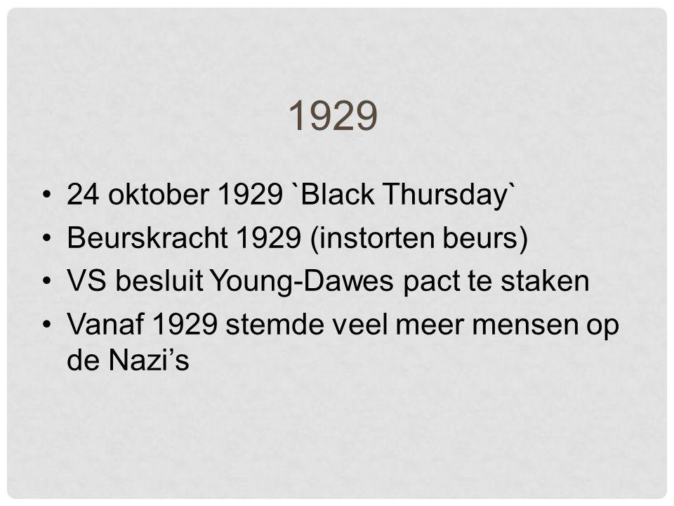 1929 24 oktober 1929 `Black Thursday` Beurskracht 1929 (instorten beurs) VS besluit Young-Dawes pact te staken Vanaf 1929 stemde veel meer mensen op de Nazi's