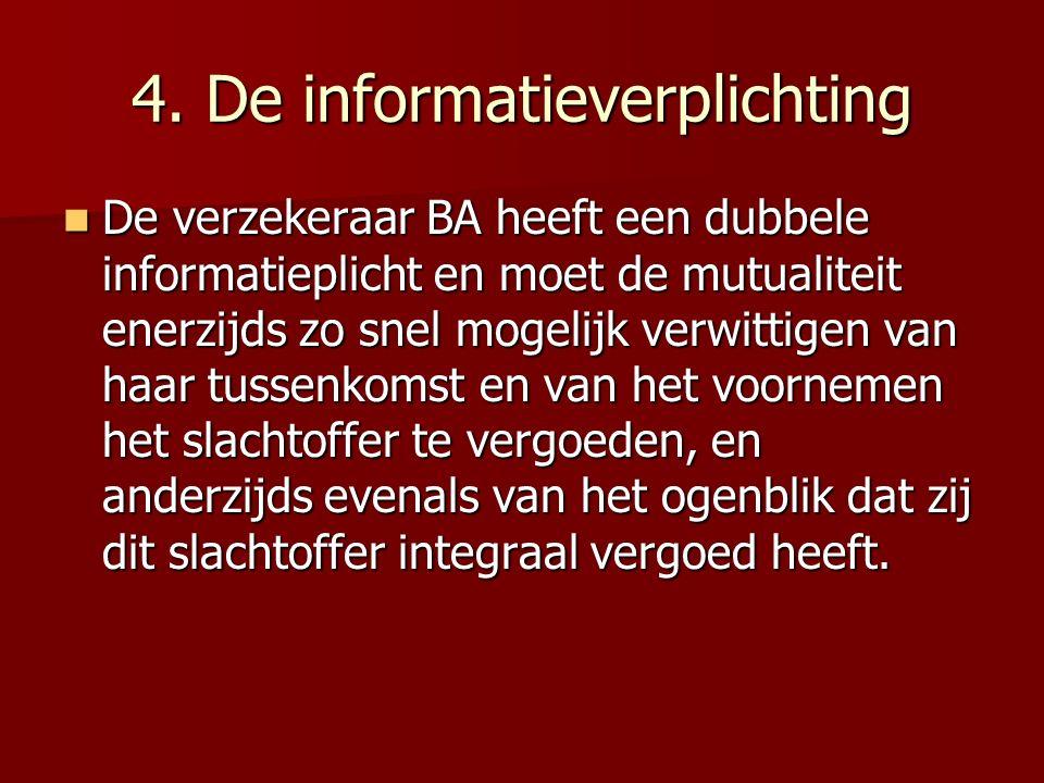 4. De informatieverplichting De verzekeraar BA heeft een dubbele informatieplicht en moet de mutualiteit enerzijds zo snel mogelijk verwittigen van ha