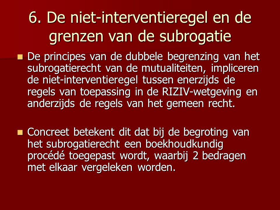 6. De niet-interventieregel en de grenzen van de subrogatie De principes van de dubbele begrenzing van het subrogatierecht van de mutualiteiten, impli