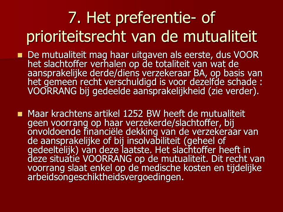 7. Het preferentie- of prioriteitsrecht van de mutualiteit De mutualiteit mag haar uitgaven als eerste, dus VOOR het slachtoffer verhalen op de totali