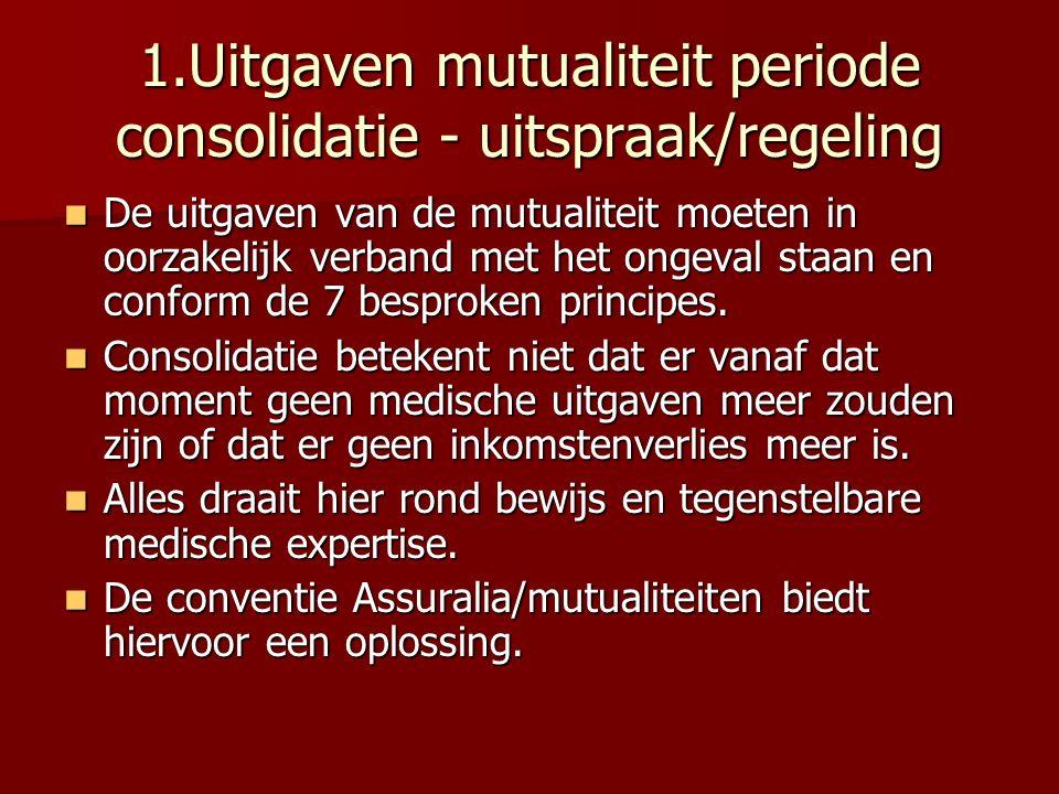 1.Uitgaven mutualiteit periode consolidatie - uitspraak/regeling De uitgaven van de mutualiteit moeten in oorzakelijk verband met het ongeval staan en
