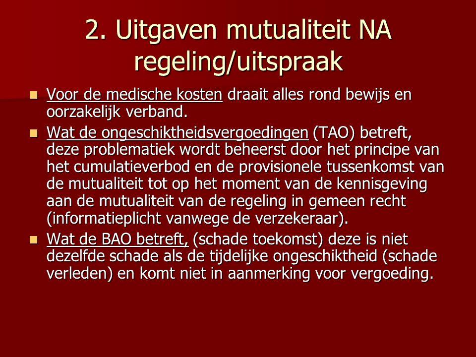 2. Uitgaven mutualiteit NA regeling/uitspraak Voor de medische kosten draait alles rond bewijs en oorzakelijk verband. Voor de medische kosten draait