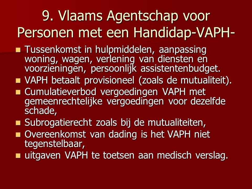 9. Vlaams Agentschap voor Personen met een Handidap-VAPH- Tussenkomst in hulpmiddelen, aanpassing woning, wagen, verlening van diensten en voorziening