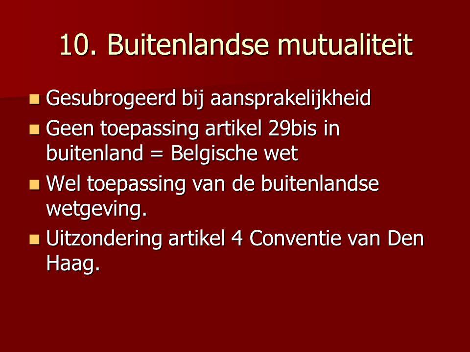 10. Buitenlandse mutualiteit Gesubrogeerd bij aansprakelijkheid Gesubrogeerd bij aansprakelijkheid Geen toepassing artikel 29bis in buitenland = Belgi