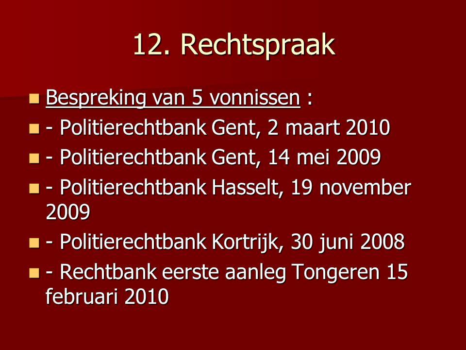 12. Rechtspraak Bespreking van 5 vonnissen : Bespreking van 5 vonnissen : - Politierechtbank Gent, 2 maart 2010 - Politierechtbank Gent, 2 maart 2010