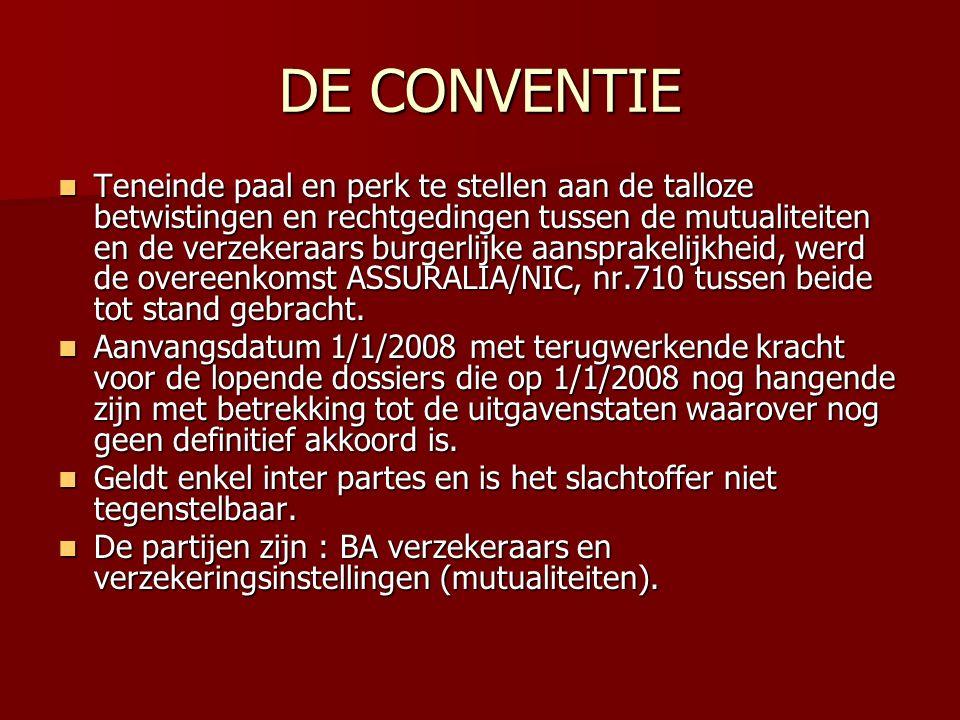 DE CONVENTIE Teneinde paal en perk te stellen aan de talloze betwistingen en rechtgedingen tussen de mutualiteiten en de verzekeraars burgerlijke aans