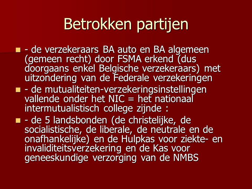 Betrokken partijen - de verzekeraars BA auto en BA algemeen (gemeen recht) door FSMA erkend (dus doorgaans enkel Belgische verzekeraars) met uitzonder