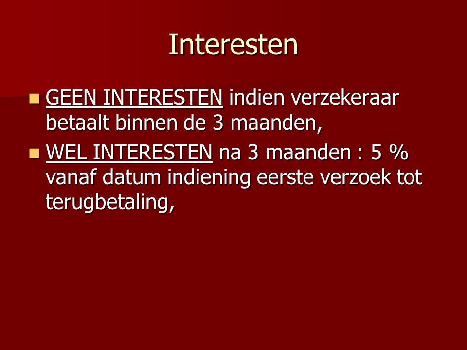 Interesten GEEN INTERESTEN indien verzekeraar betaalt binnen de 3 maanden, GEEN INTERESTEN indien verzekeraar betaalt binnen de 3 maanden, WEL INTERES