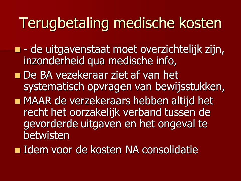 Terugbetaling medische kosten - de uitgavenstaat moet overzichtelijk zijn, inzonderheid qua medische info, - de uitgavenstaat moet overzichtelijk zijn