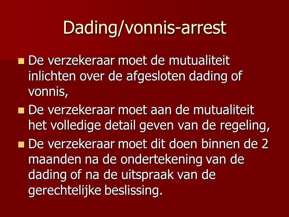 Dading/vonnis-arrest De verzekeraar moet de mutualiteit inlichten over de afgesloten dading of vonnis, De verzekeraar moet de mutualiteit inlichten ov