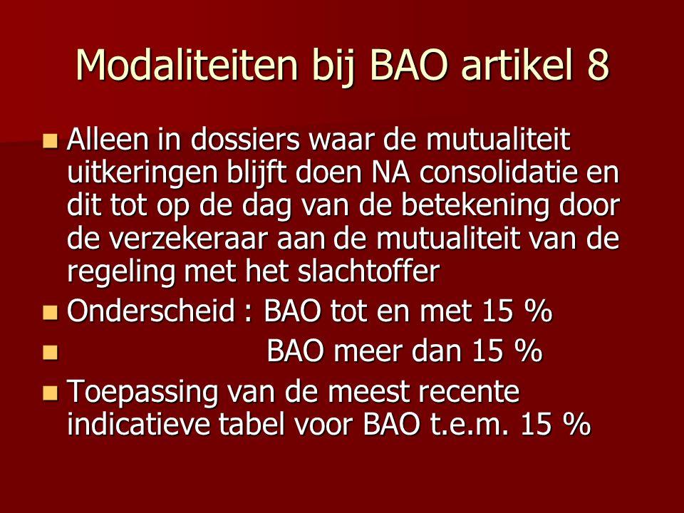 Modaliteiten bij BAO artikel 8 Alleen in dossiers waar de mutualiteit uitkeringen blijft doen NA consolidatie en dit tot op de dag van de betekening d