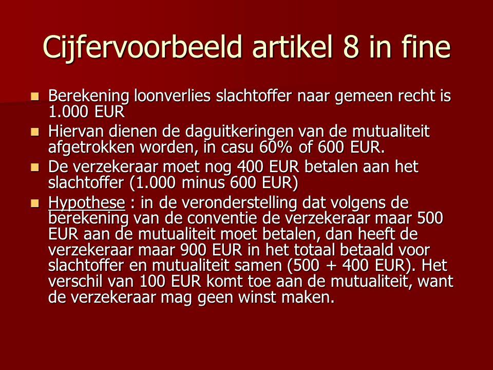 Cijfervoorbeeld artikel 8 in fine Berekening loonverlies slachtoffer naar gemeen recht is 1.000 EUR Berekening loonverlies slachtoffer naar gemeen rec