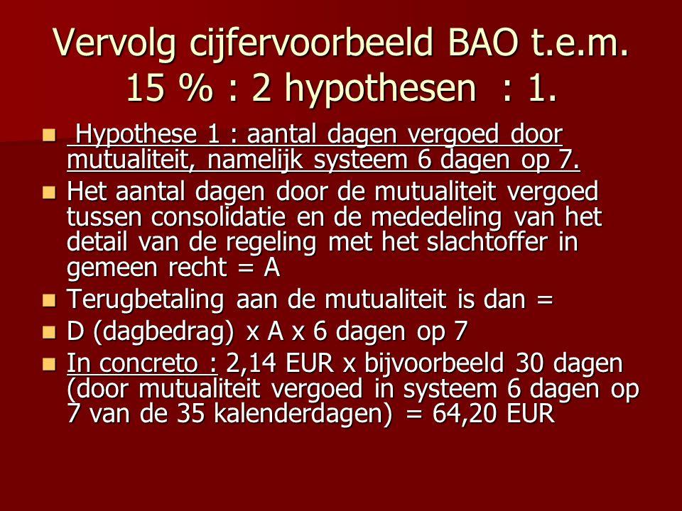 Vervolg cijfervoorbeeld BAO t.e.m. 15 % : 2 hypothesen : 1. Hypothese 1 : aantal dagen vergoed door mutualiteit, namelijk systeem 6 dagen op 7. Hypoth