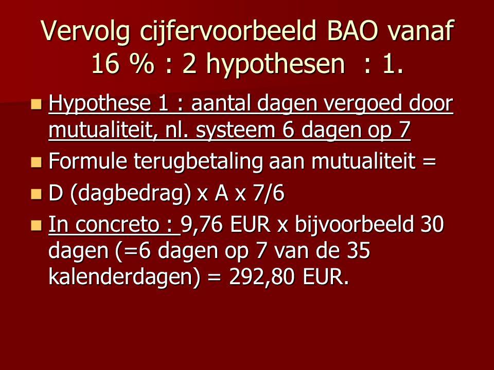 Vervolg cijfervoorbeeld BAO vanaf 16 % : 2 hypothesen : 1. Hypothese 1 : aantal dagen vergoed door mutualiteit, nl. systeem 6 dagen op 7 Hypothese 1 :