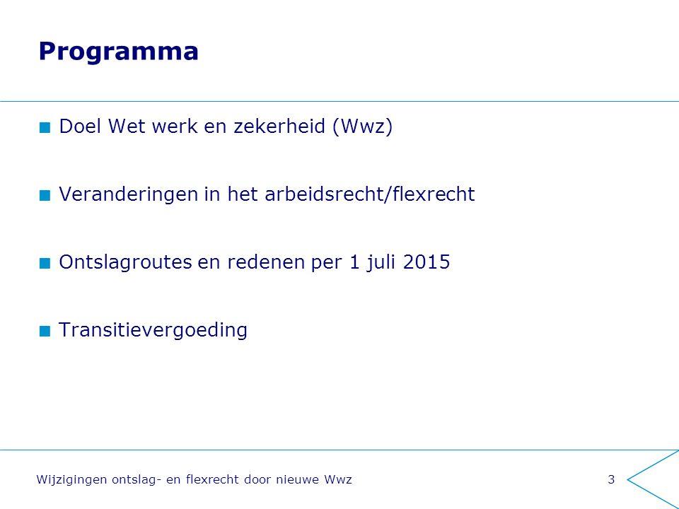 Programma Doel Wet werk en zekerheid (Wwz) Veranderingen in het arbeidsrecht/flexrecht Ontslagroutes en redenen per 1 juli 2015 Transitievergoeding Wi
