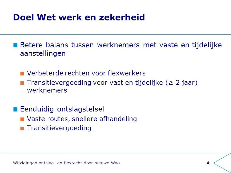 Doel Wet werk en zekerheid Betere balans tussen werknemers met vaste en tijdelijke aanstellingen Verbeterde rechten voor flexwerkers Transitievergoedi