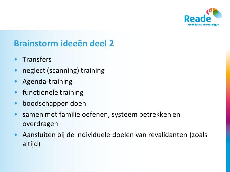 Brainstorm ideeën deel 2 Transfers neglect (scanning) training Agenda-training functionele training boodschappen doen samen met familie oefenen, systeem betrekken en overdragen Aansluiten bij de individuele doelen van revalidanten (zoals altijd)