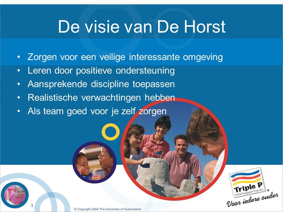 3 De visie van De Horst Zorgen voor een veilige interessante omgeving Leren door positieve ondersteuning Aansprekende discipline toepassen Realistische verwachtingen hebben Als team goed voor je zelf zorgen