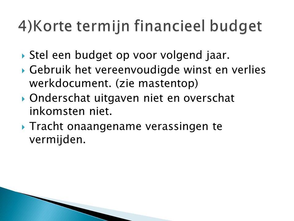 Stel een budget op voor volgend jaar.  Gebruik het vereenvoudigde winst en verlies werkdocument. (zie mastentop)  Onderschat uitgaven niet en over