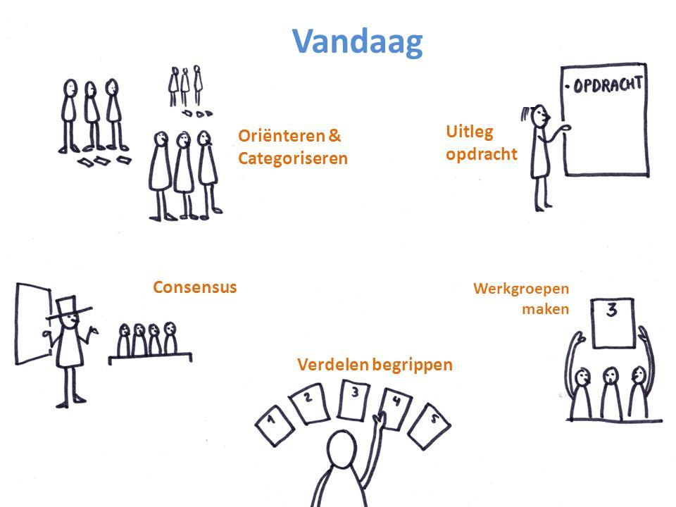 Oriënteren & Categoriseren Consensus Verdelen begrippen Werkgroepen maken Uitleg opdracht Vandaag