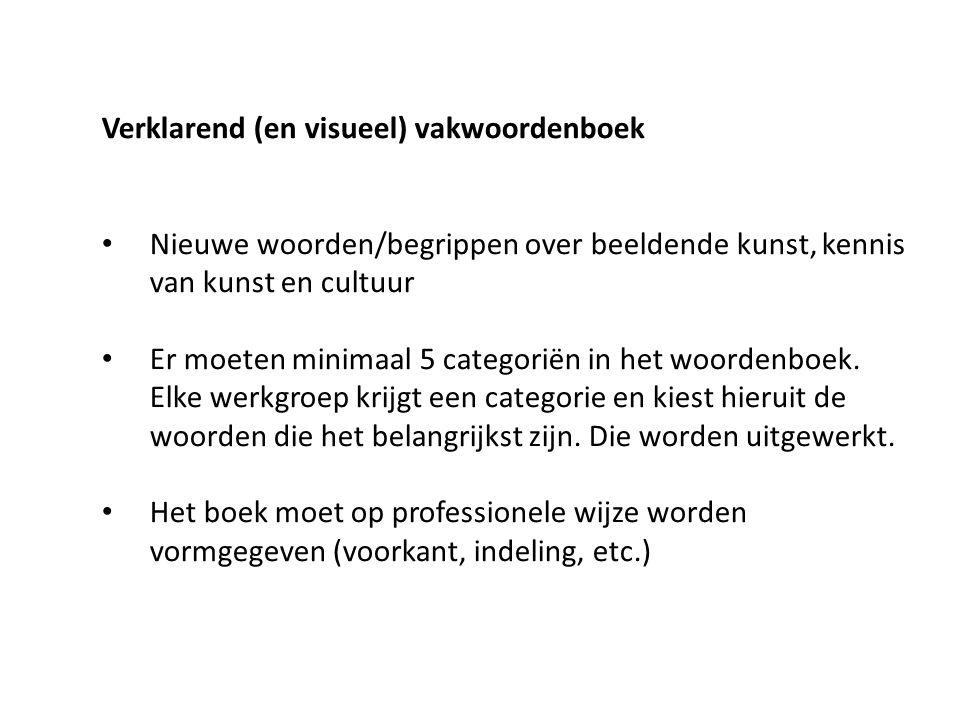 Verklarend (en visueel) vakwoordenboek Nieuwe woorden/begrippen over beeldende kunst, kennis van kunst en cultuur Er moeten minimaal 5 categoriën in het woordenboek.