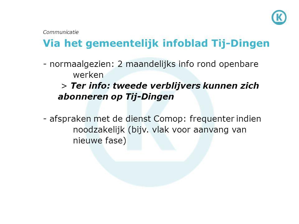 Via het gemeentelijk infoblad Tij-Dingen - normaalgezien: 2 maandelijks info rond openbare werken > Ter info: tweede verblijvers kunnen zich abonneren