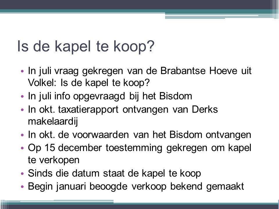 Is de kapel te koop. In juli vraag gekregen van de Brabantse Hoeve uit Volkel: Is de kapel te koop.