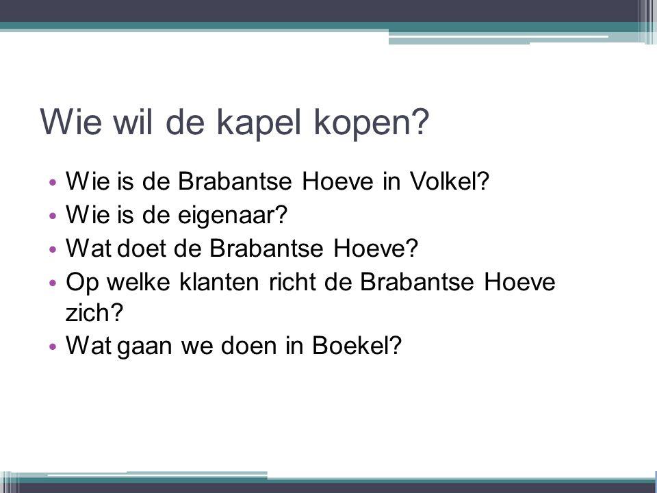 Wie wil de kapel kopen. Wie is de Brabantse Hoeve in Volkel.